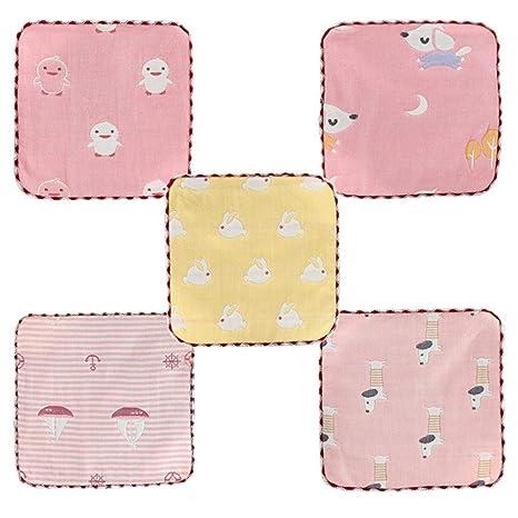 iBaste_Baberos Seis Capas de Gasa Puro Algodón Baberos Toallitas para Bebés Ducha de Bebé Gasa Bufanda