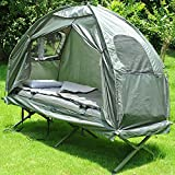 Outsunny 4-in-1 Multi-functional Outdoor Compact Folding Shelter Tent Hiking Camping Bed Cot Combo with Sleeping Bag Air Mattress Pillow, Army Green