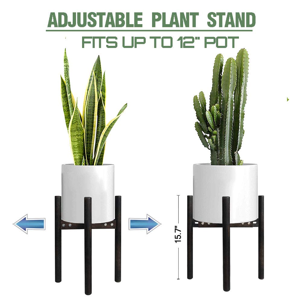 Adjustable Plant Stand Indoor Outdoor Mid Century Modern Planter Stand,Best Fits 8 to 12 Inch Flower Pot,Wood Planter Holder Modern Home Decor Plant and Pot NOT Included