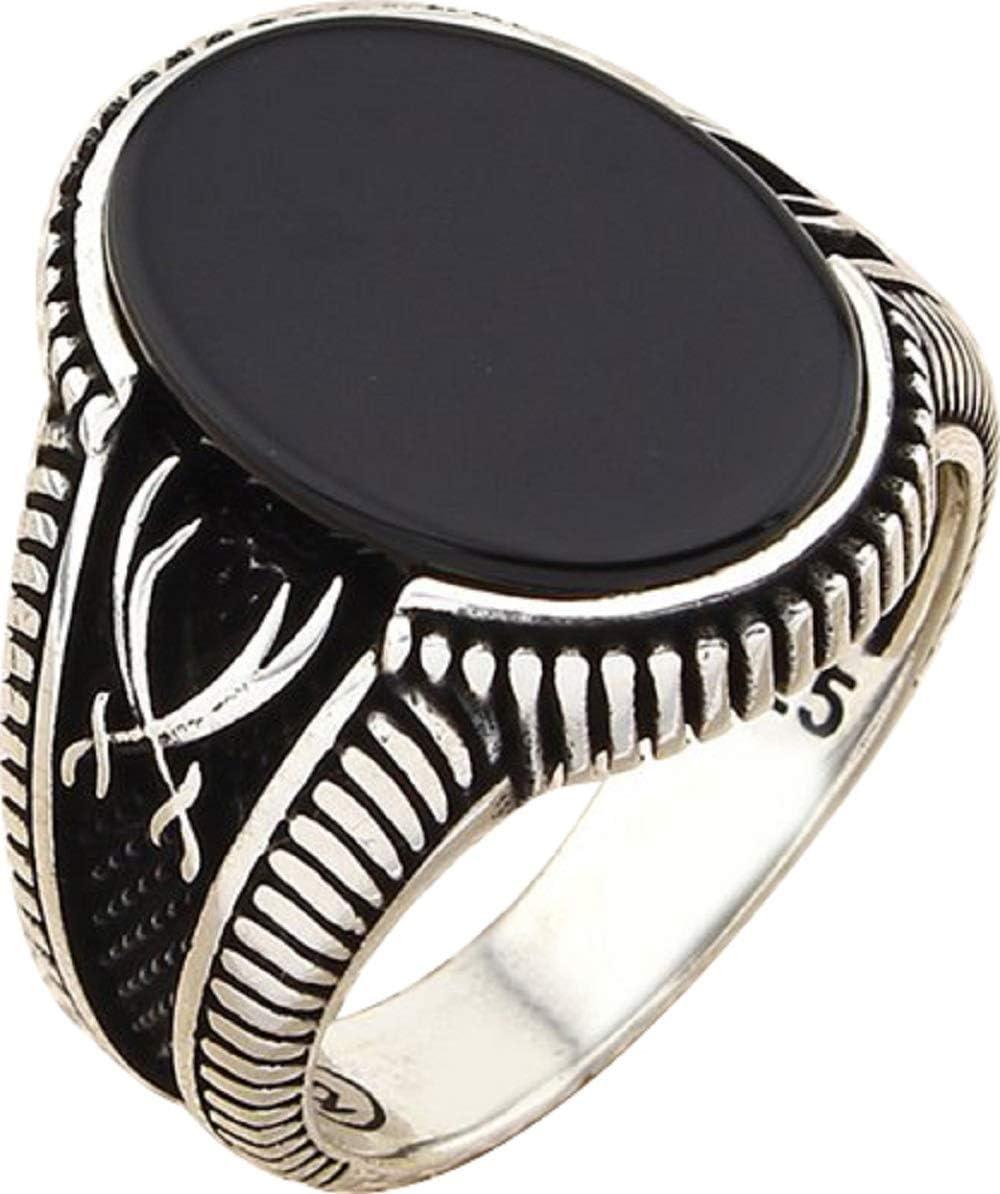 Men/'s 925 Sterling Silver Black Onyx Ring Size 9 Ottoman Turkish Jewelry