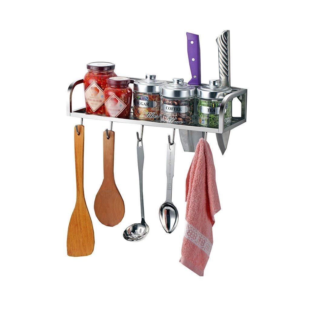 Upgrade Multi-Functional Wall-Mounted Seasoning Frame 304 Stainless Steel Kitchen Shelf with Hooks Spice Rack Kitchen Pendant Knife Rack (Size : 60cm)