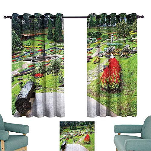 DILITECK Kids Room Curtains Country Home Decor Collection Bromeliad at Mae Fah Luang Garden Lawn Flower Beds Evergreens Wooden Seat Image Thermal Insulated Tie Up Curtain W55 xL45 Lilac Red Green from DILITECK