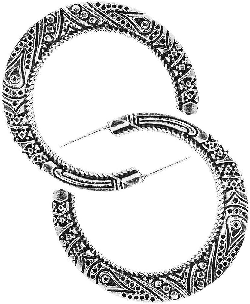 YAZILIND retro media luna tallada aro pendientes mujer Bohemia estilo joyería
