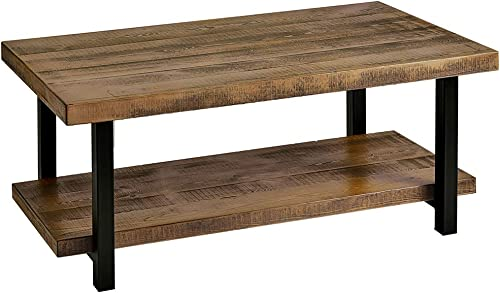 Romatlink Industrial Coffee Table with Storage Shelf for Living Room, Wood Look Accent Furniture with Metal Frame, Easy Assembly, Rustic Brown Durable