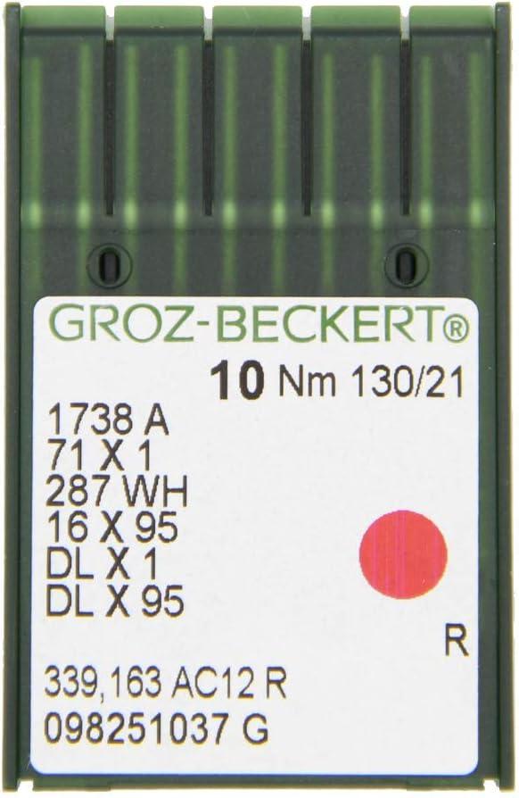 GROZ-BECKERT - Agujas de coser (10 unidades, DBx1, con pistón redondo y punta redonda para máquinas de coser industriales), Nm. 130/21
