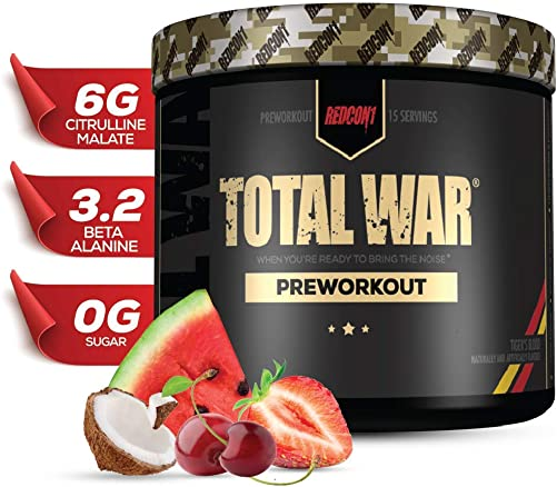 Redcon1 – Total War – Preworkout – All New 15 Servings Boost Energy, Increased Lasting Endurance, Citrulline Malate, Beta-Alanine, Keto Friendly, Tigers Blood