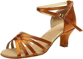 Femme Chaussures,Couleur de la Mode féminine Rumba Waltz Prom Ballroom Latin Salsa Danse Chaussures Sandales,Espadrilles(34,Argent)