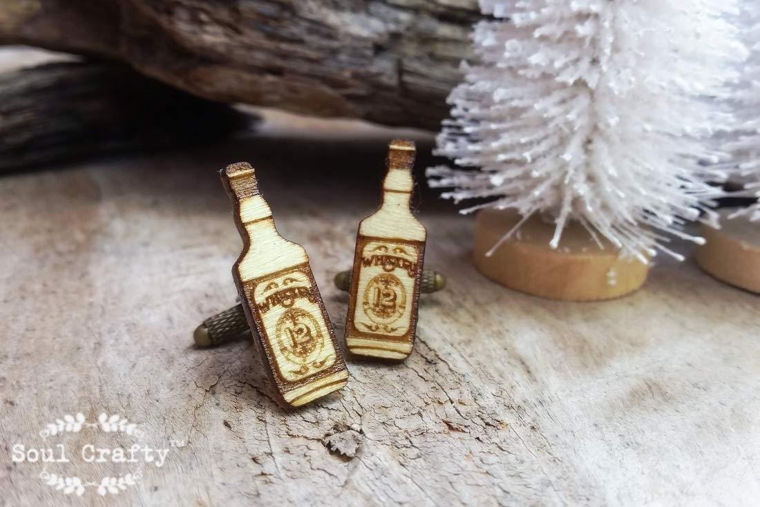 Wooden Whiskey Bottle Bronze Cufflinks