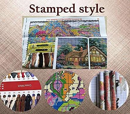 36cm/×44cm or 14.04/×17.16 2 ,14CT Counted Joy Sunday Cross Stitch Kits,Cartoon Style,Tea time