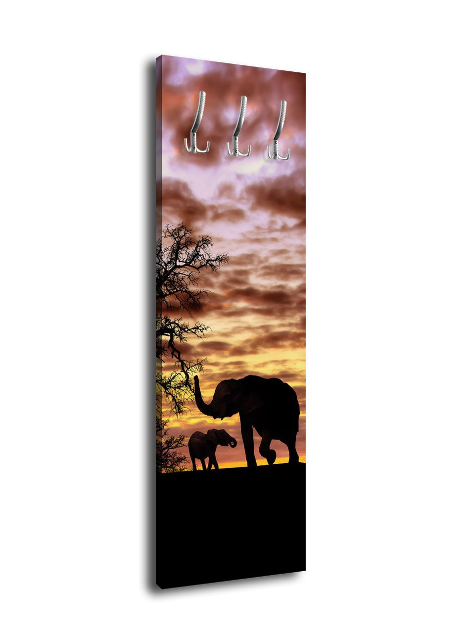 Wandmotiv24 Garderobe mit Design Savanna Heart G435 40x125cm Wandgarderobe Afrika Steppe Elefant