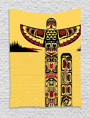 Ambesonne Native American Decor Collection, Illustration of a North American Totem Pole Ancient Spirit Native Artprint, Bedroom Living Room Dorm Wall Hanging Tapestry, Yellow Red Black - Native American Art Totem Poles