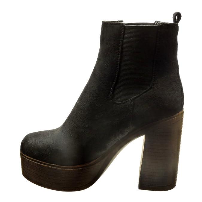 Angkorly - Zapatillas Moda Botines Chelsea Boots Plataforma Altas Mujer Tacón Ancho Alto 11 CM CM - Negro AS1566 T 40: Amazon.es: Zapatos y complementos