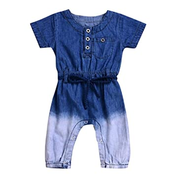 dce2fa354d00 Image Unavailable. Image not available for. Color  Newborn Baby Boys Girls  Gradient Jeans Denim Jumpsuit Short Sleeve Romper ...