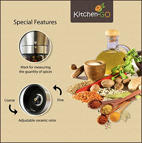Salt and Pepper Grinder Set - Salt and Pepper Shakers for Professional Chef - Best Spice Mill with Brushed Stainless Steel, Special Mark, Ceramic Blades and Adjustable Coarseness by Kitchen-GO (Image #3)