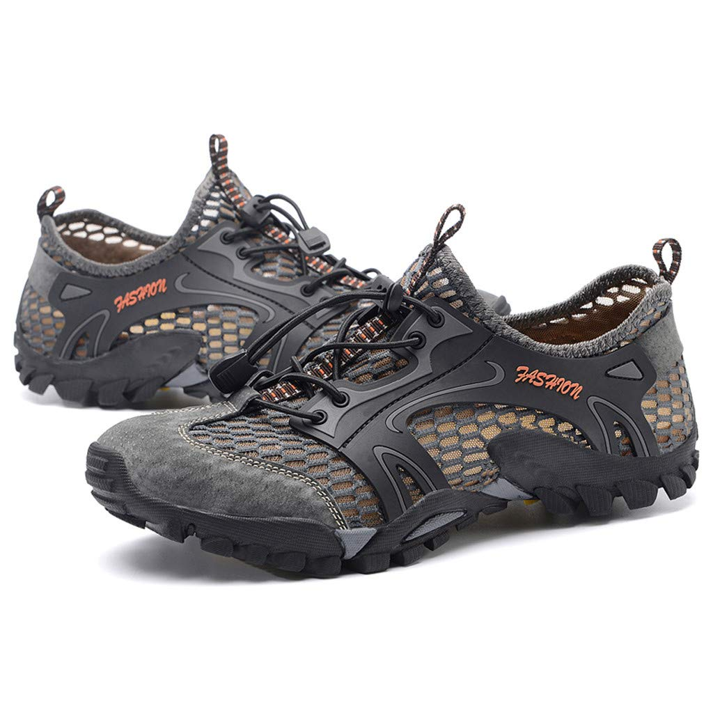 Hiking Shoes Men Casual Summer Breathable Mesh Lightweight Cutout Sneaker Walking Trekking Training Work Shoes (US:7, Gray)