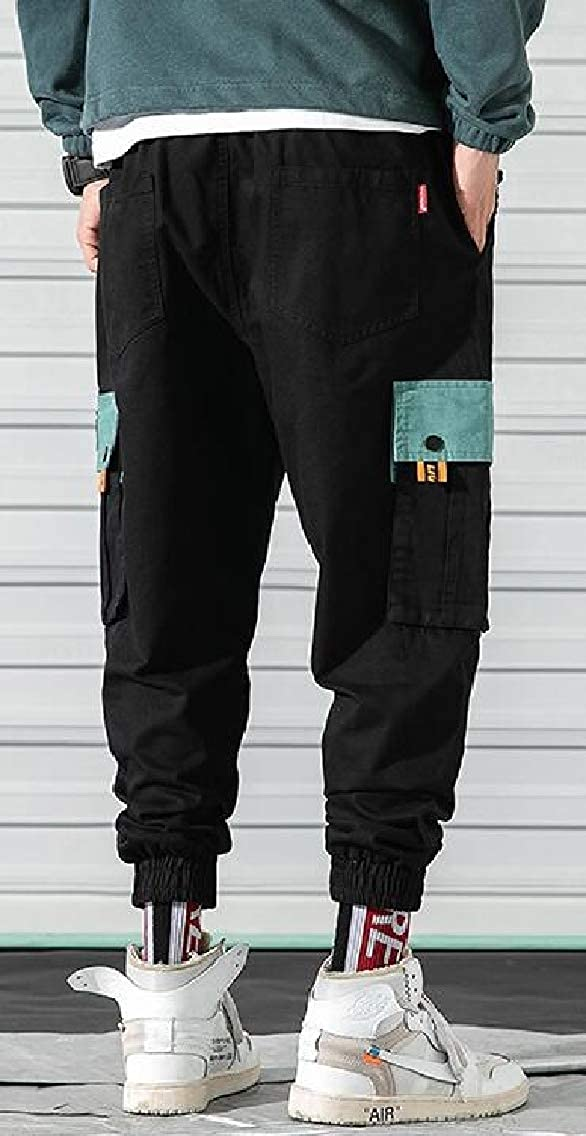 YYG Mens Contrast Multi Pockets Casual Washed Loose Fit Cargo Jogger Pants