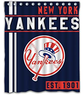 York Baseball Team Emblem Waterproof Shower Curtain Blue Design Polyester For Bathroom Decoration 60 X 72