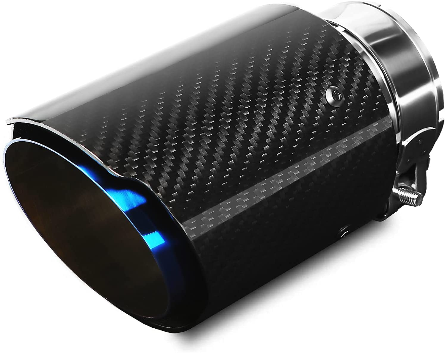 Puntas de Escape Silenciador Acero Inoxidable y fibra de Carbono Brillante Tubo del Extremo de Escape del Automóvil, Entrada 63 mm (2.5