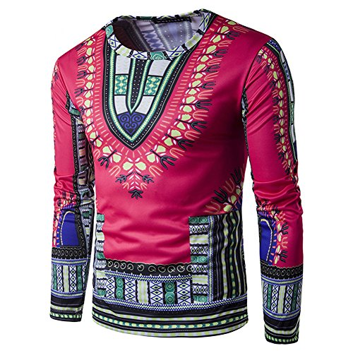 Mens Long Sleeve Bright Traditional African Clothing Dashiki T Shirts L Rose (Traditional Men Shirt)