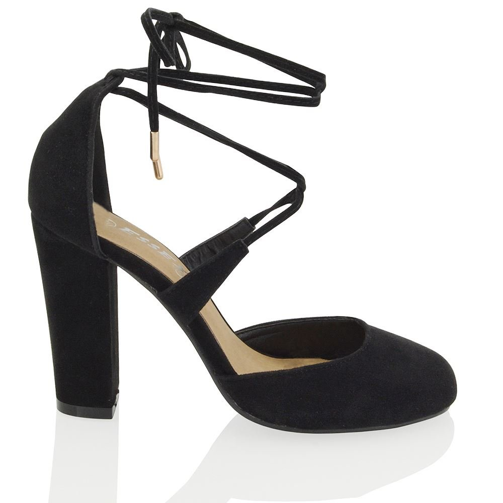 0a8cfa29e65 ESSEX GLAM Women's Lace Up Tie Wrap Block Heel Strappy Synthetic Pumps  Court Shoes