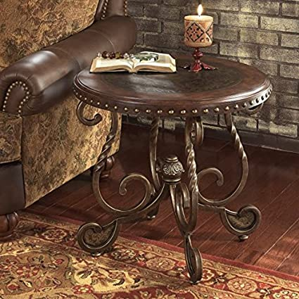 Amazoncom Retro Style Elegant Brown Round End Table W Twisted - Painted round end table