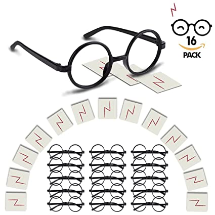 YoHold Wizard Glasses With Round Frame No Lenses And Lightning Bolt Tattoos For Kids Harry Potter