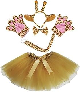 Petitebelle jirafa disfraz diadema pajarita cola guantes marrón juego de tutú para dama