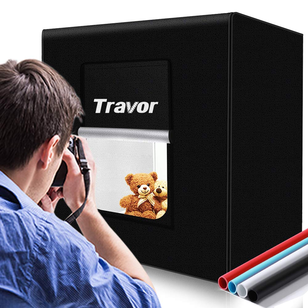 TRAVOR Photo Box 16''/40cm Photo Studio Light Box Portable Photography Shooting Tent with Movable LED Lights, Dimmable Table Top Light Tent with 4 Color Backdrops (White Black Red Blue), CRI95+