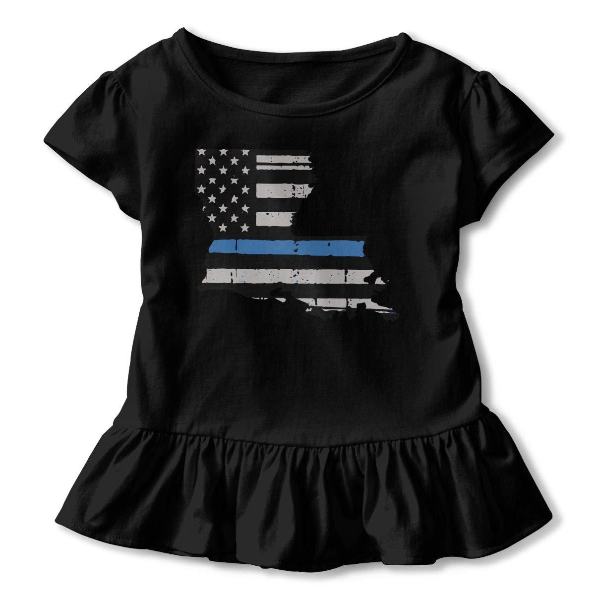 Thin Blue Line USA Flag Kids Girls Short Sleeve Ruffles Shirt Tee Jersey for 2-6T