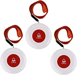 Wireless Caregiver Pager Softly Sound Alert System Nurse Call Help Buttons for Elderly Patient at Home 3 Buttons