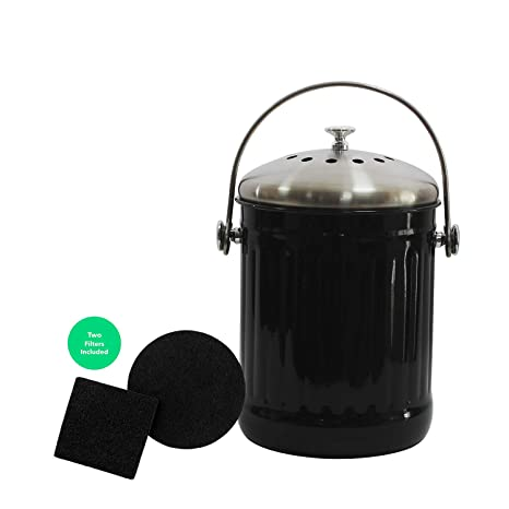 4W Kitchen Compost Bin-1.3 Gallon Indoor Compost Bin for Kitchen Counter  Odorless Composting with Lid - Includes Two Charcoal Filters (Black)