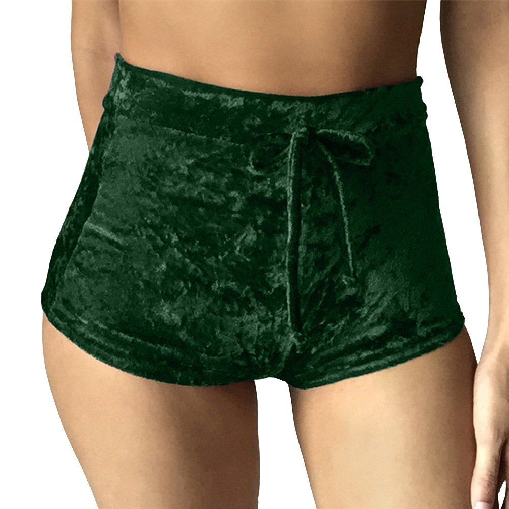 Rela Bota Women's Casual Soft High Waist Velvet Drawstring Casual Booty Shorts Large Green