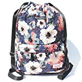 Drawstring Bag Floral Backpack for Travel School Gym Beach 2 Sizes Deal (Small Image)
