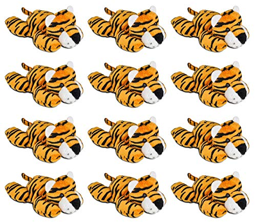 "Wildlife Tree 12 Pack Tiger Mini 4"" Small Stuffed Animals, Bulk Bundle Zoo Animal Toys, Jungle Safari Party Favors for Kids"