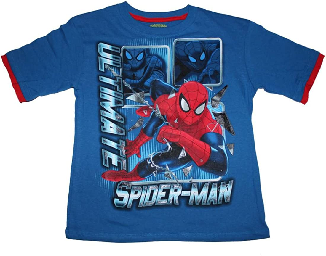 Boys Red White or Blue Short Sleeved  T Shirt with /'Spiderman/' detail