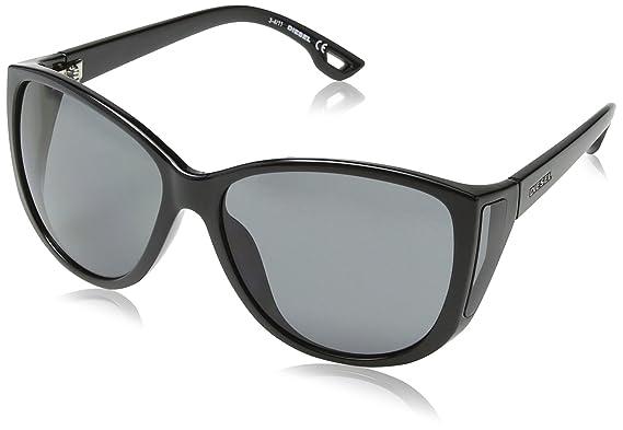Diesel Unisex DL0047 Sonnenbrille, Shiny Black Frame/Gradient Grey, Gr. One size