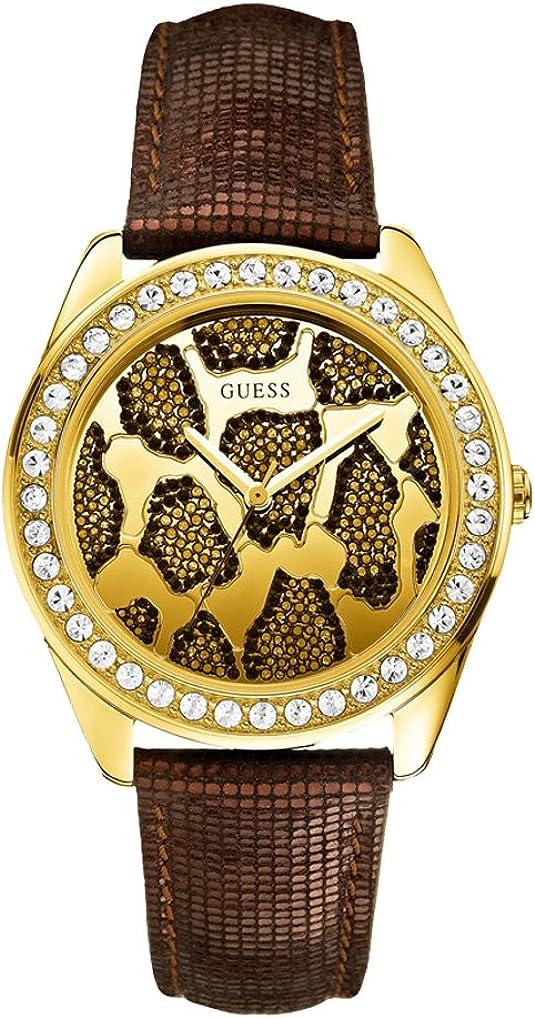 Guess W0056L2 - Reloj para Mujer, Cuarzo, analógico, Correa de Piel marrón