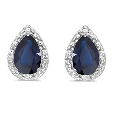 ee0e2d5db Image Unavailable. Image not available for. Color: 14K White Gold Pear  Sapphire and Diamond Earrings