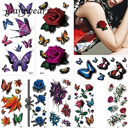 8 Sheets Butterfly Floral Arrangements Purple Flower Petals Over 75 Temporary Tattoos Scar Cover up Boho Mandala Mehndi Fake Tattoo Cover UP Body Make up Stretch Mark Cover up