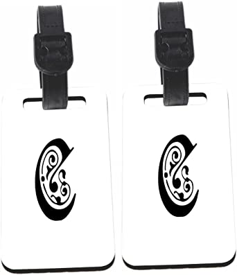 Calligraphy Monogram Letter C Design Luggage Identifier With Strap X8
