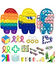 40 Pcs Fidget Toys Pack Contain Pop Fidget Toy to Stress Relief, Fidget Pack Cheap for Kids Adults,Special Fidjetoy Toy Packages for Party, School, Carnival, Fillers(#4)