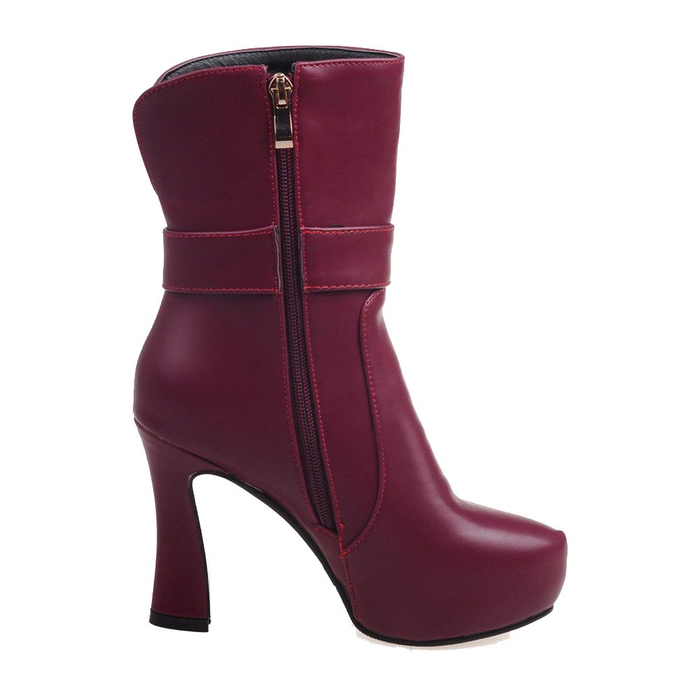 AmoonyFashion Women's Solid Low-top Solid Women's Chains Round Closed Toe High-Heels Boots B01N0A1PC2 Boots f07cf9