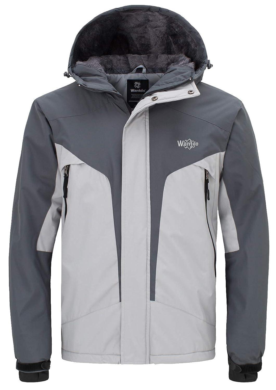 Wantdo Herren Skijacke Kapuzen Reflektierende Jacke