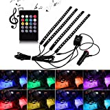 Ralbay Car LED Strip Light,4pcs DC 12V Multi-color Car Interior Music Light LED Underdash Lighting Kit with Sound Active Function and Wireless Remote Control(18led)