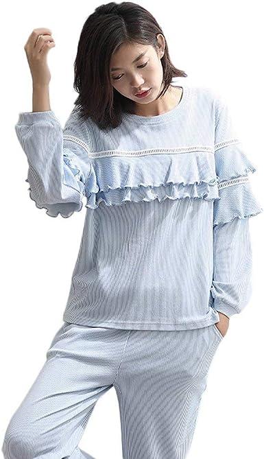 Mujer Ropa para El Hogar Casual Cuello Redondo Algodon Pijamas Mujer Primavera Rayado Elegante Otoño Manga Largo Conjunto De Pijama Fashion Casuales Mujeres Camisones Pantalones De Pijama: Amazon.es: Ropa y accesorios