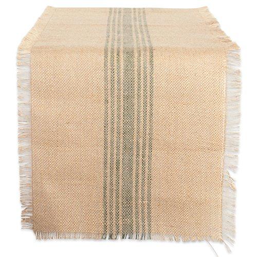 DII CAMZ38419 Artichoke Middle Stripe Burlap Table Runner 14x72,