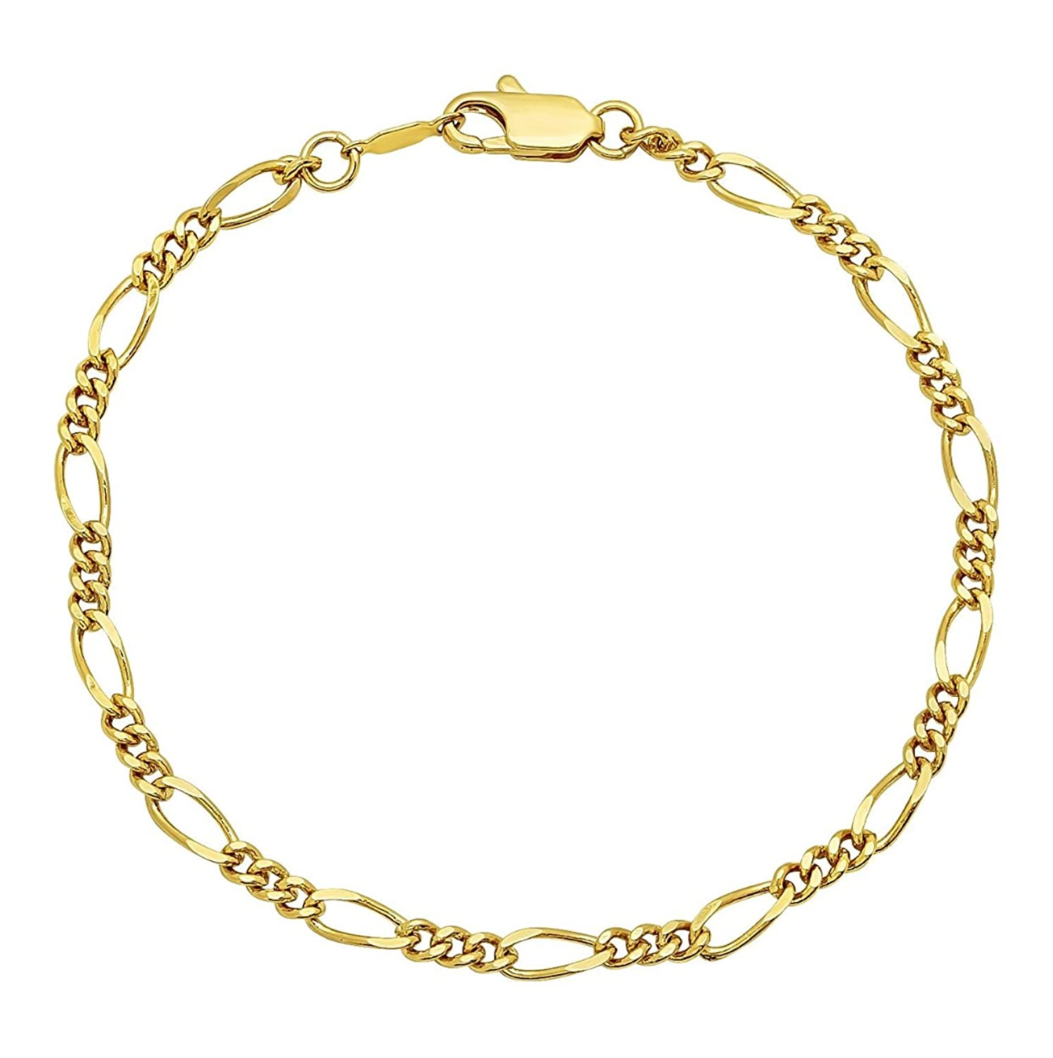product flat inches gold k overstock fremada karat figaro high free watches shipping jewelry today yellow anklet polish