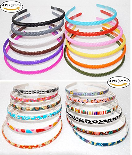 Buy Fok Set Of 4 Printed Multi Color   Design Plastic Hair Bands ... aa58bc1e89b
