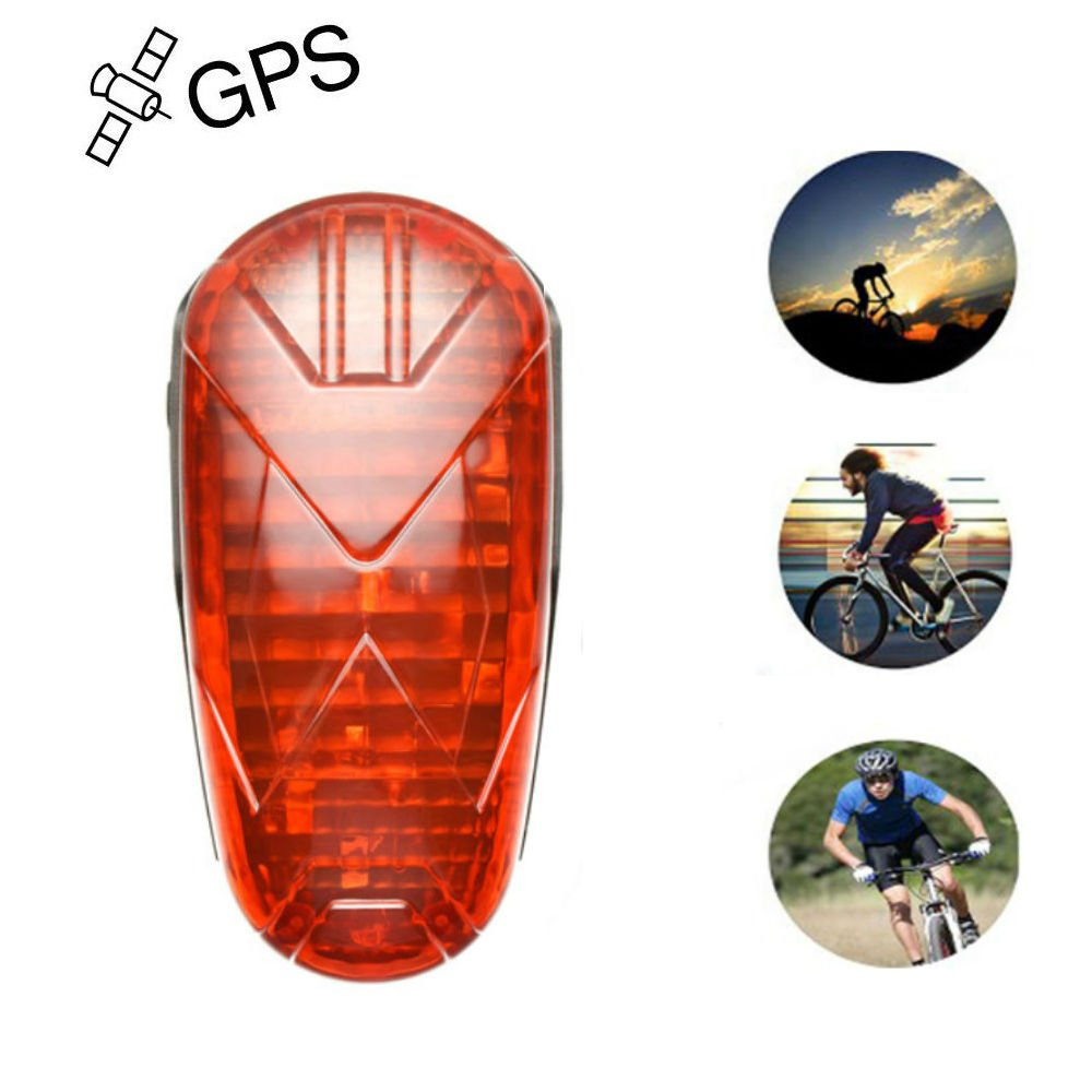 TKSTAR Bike GPS Tracker Alarm with LED Tail Light Waterproof Worldwide Realtime GPS Locator Mini Smart LED light Hidden Motor Bicycle GPS Tracking Device 25 Days Long Battery Life FREE APP