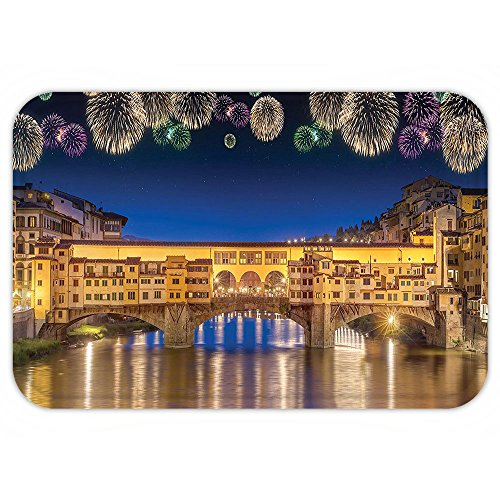 [Kisscase Custom Door MatApartment Decor Night Panoramic View of Vecchio Bridge Florence Italy with Colorful FireworkArt Gold Navy Purple] (Florence And The Machine Costume)